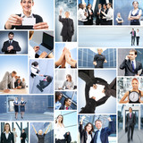 A collage of different business people working together