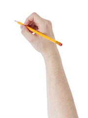 adult man hand write something with pencil