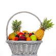 ssorted fruits in wicker basket