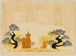 Chinese landscape - abstract ancient buildings