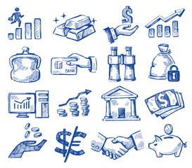hand drawn money and business