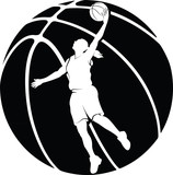 Girl Basketball Silhouette With Ball