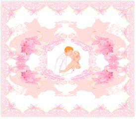 kissing couple, elegant wedding invitation