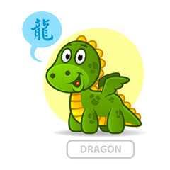 Chinese zodiac sign dragon. vector