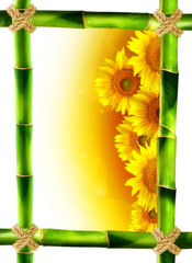 cornice bambù girasoli