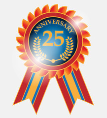 25 years anniversary label, vector illustration