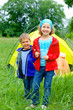 Summer child camping in tent