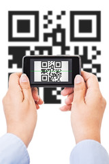 Qr code scanning, isolated on white
