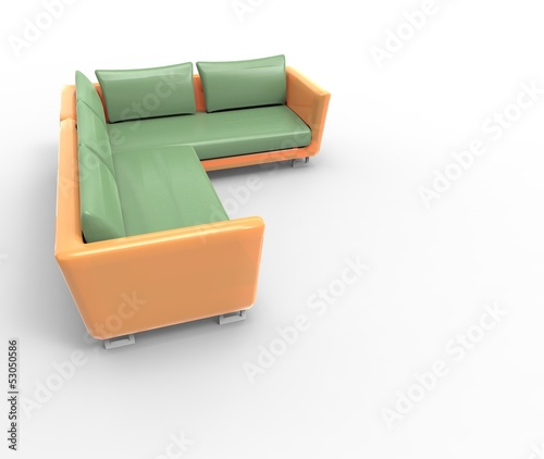 Modern sofa isolated on white background