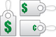 Price tags with green dollar and cent symbols