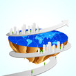 vector illustration of building aroung piece of Earth