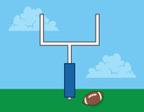 Football in field with goal post