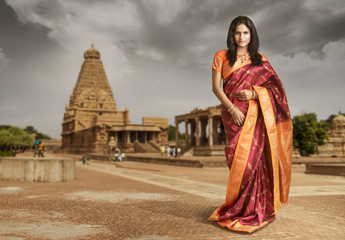 Beautiful Indian girl in traditional Indian sari.