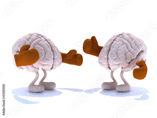 two human brain with boxing gloves in a fight