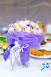 sweet candy flower bouquet on setting table