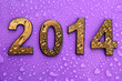2014 in golden numbers, on purple background