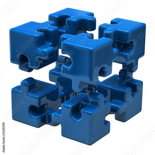 Blue puzzle cube isolated on white background