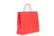 Single red shopping bag on white background