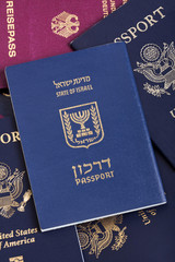 Israeli Passport on Passports Stack