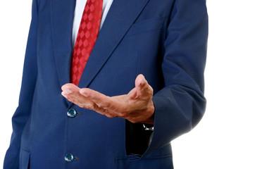 Seniors businessman handheld isolated on white background