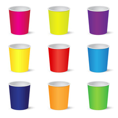 Set of colorful party cups