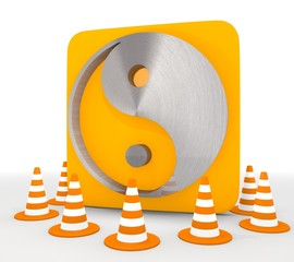 3d graphic of a isolated ying yang icon