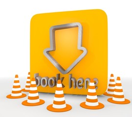 3d graphic of a isolated book here icon