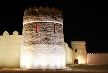 Beautiful illuminated Southern portion of Riffa fort, Bahrain