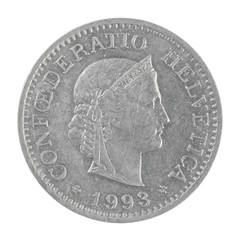 an old Swiss franc 10 Rappen coin isolated on a white background