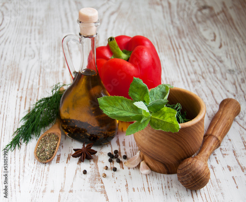 olive oil and vegetables