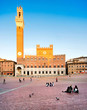 Piazza del Campo with Torre del Mangia at sunset, Siena, Tuscany
