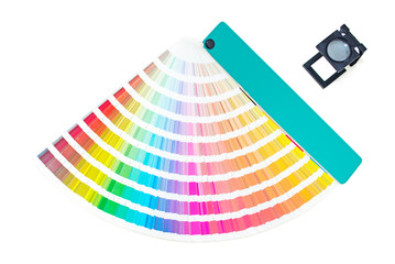 Cmyk pallete with loupe