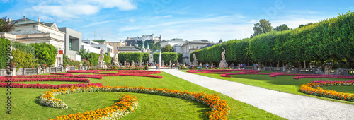 Panoramic view of famous Mirabell Gardens in Salzburg, Austria