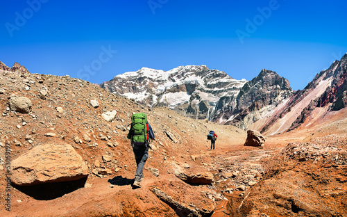 Hikers on their way to Aconcagua as seen in the background, Acon