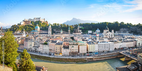 Salzburg skyline panorama with river Salzach at sunset, Austria
