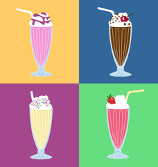 Milk-shake vector set