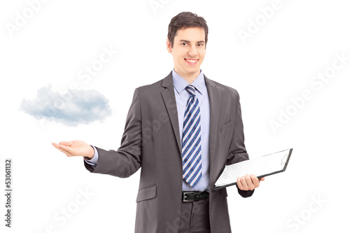 Man holding a clipboard and gesturing with hand, symbolizing clo