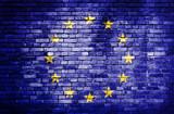 Fototapety European Unionflag on brick wall