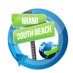 Miami, South Beach road symbol illustration