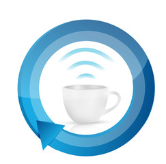 coffee wifi mug cycle illustration design