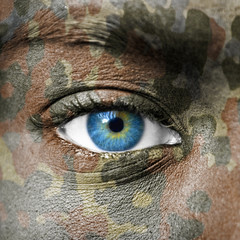 Extreme close up of soldiers eye