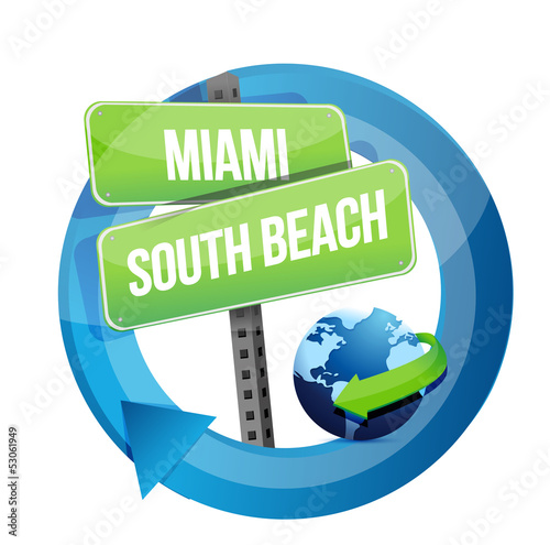 Miami, South Beach road symbol illustration