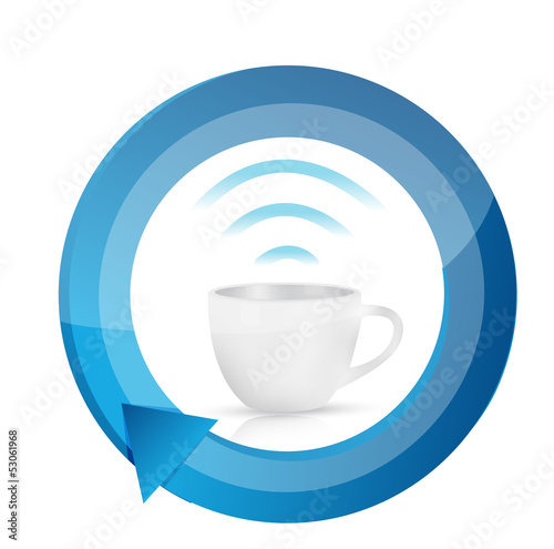 coffee wifi mug cycle illustration design