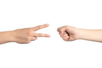 Rock paper and scissors hands gambling