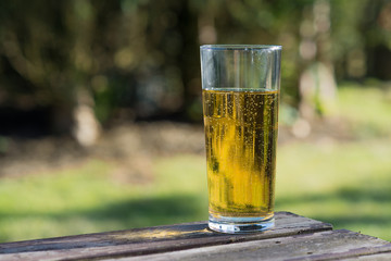 glass of cider on table