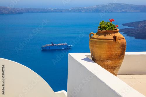 Staande foto Athene Greece Santorini island in Cyclades, traditional detail sights o