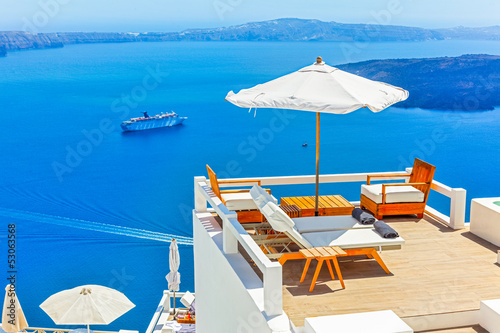 Greece Santorini island in Cyclades,Panoramic view of caldera se