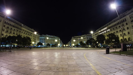 Timelapse of Aristotelous Square at night, Thessaloniki, Greece