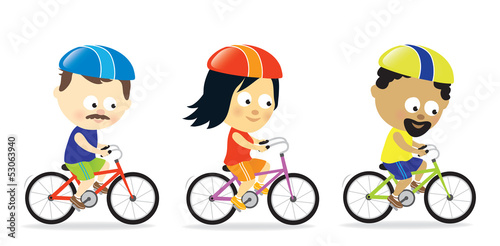 Adults riding bicycles