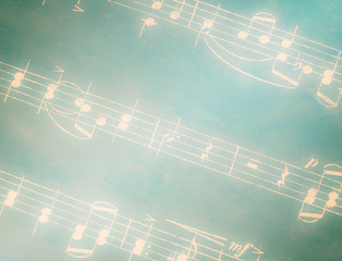 musical notes on green